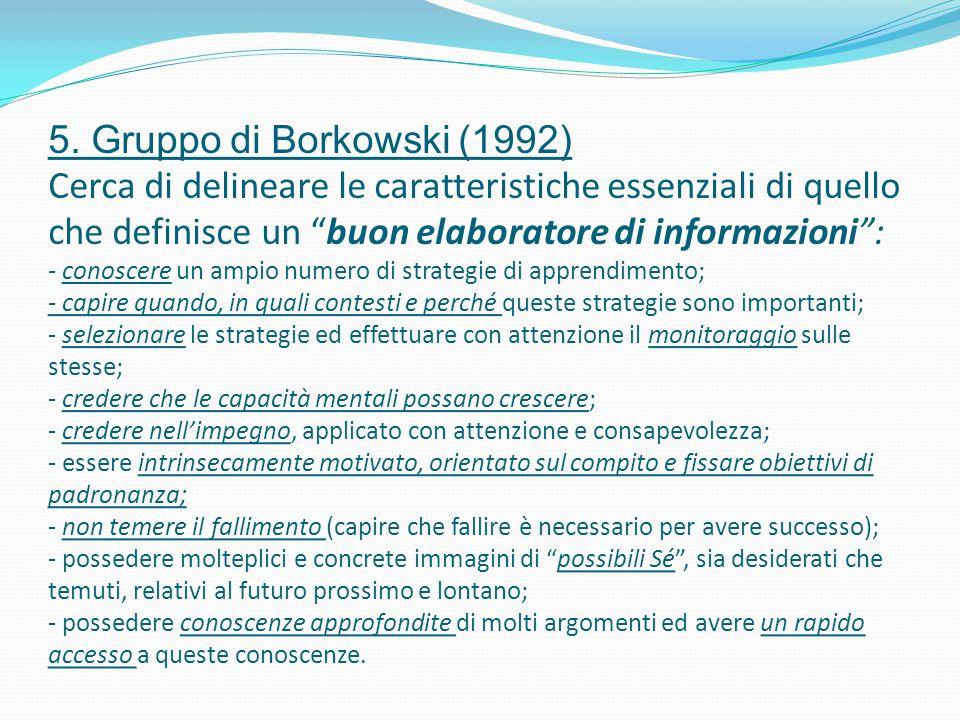 """5. Gruppo di Borkowski (1992) Cerca di delineare le caratteristiche essenziali di quello che definisce un """"buon elaboratore di informazioni"""": - conosc"""