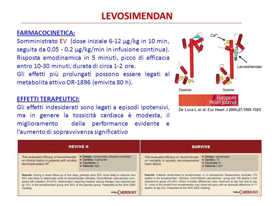 FARMACOCINETICA: Somministrato EV (dose iniziale 6-12 µg/kg in 10 min, seguita da 0.05 - 0.2 µg/kg/min in infusione continua).