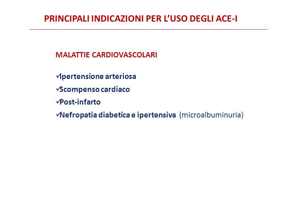 MALATTIE CARDIOVASCOLARI Ipertensione arteriosa Scompenso cardiaco Post-infarto Nefropatia diabetica e ipertensiva (microalbuminuria) PRINCIPALI INDICAZIONI PER L'USO DEGLI ACE-I