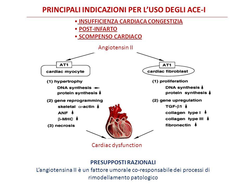 PRESUPPOSTI RAZIONALI L'angiotensina II è un fattore umorale co-responsabile dei processi di rimodellamento patologico Angiotensin II Cardiac dysfunction INSUFFICIENZA CARDIACA CONGESTIZIA POST-INFARTO SCOMPENSO CARDIACO PRINCIPALI INDICAZIONI PER L'USO DEGLI ACE-I