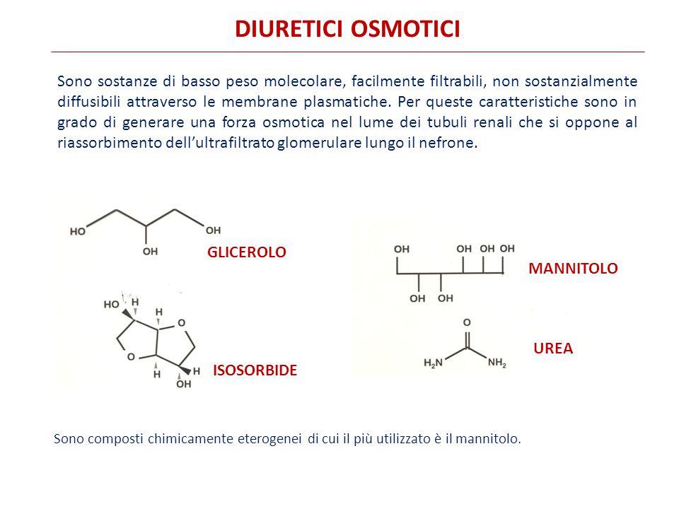 DIURETICI OSMOTICI Sono sostanze di basso peso molecolare, facilmente filtrabili, non sostanzialmente diffusibili attraverso le membrane plasmatiche.