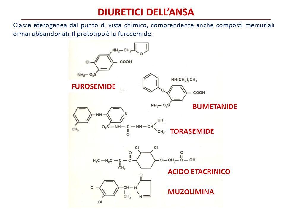 DIURETICI DELL'ANSA Classe eterogenea dal punto di vista chimico, comprendente anche composti mercuriali ormai abbandonati.