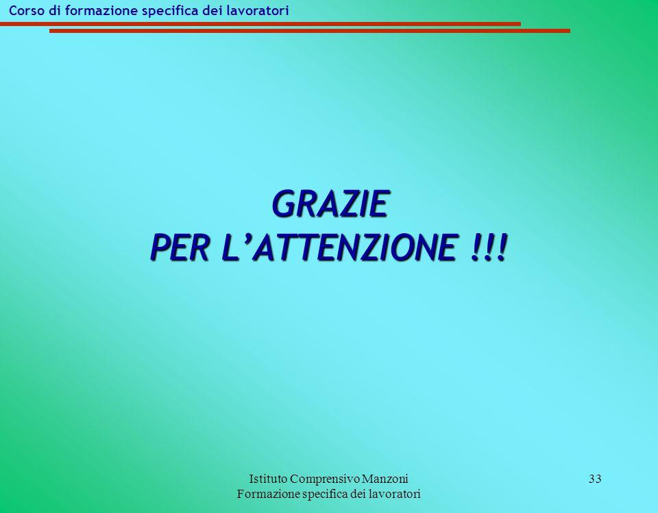Istituto Comprensivo Manzoni Formazione specifica dei lavoratori 33 GRAZIE PER L'ATTENZIONE !!.