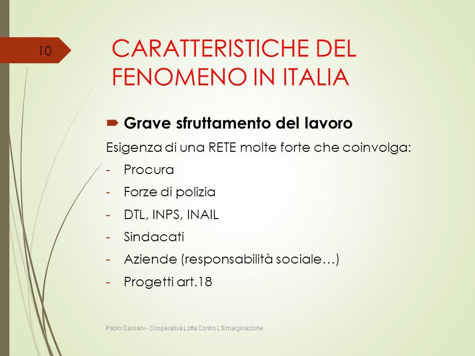 CARATTERISTICHE DEL FENOMENO IN ITALIA  Grave sfruttamento del lavoro Esigenza di una RETE molte forte che coinvolga: -Procura -Forze di polizia -DTL