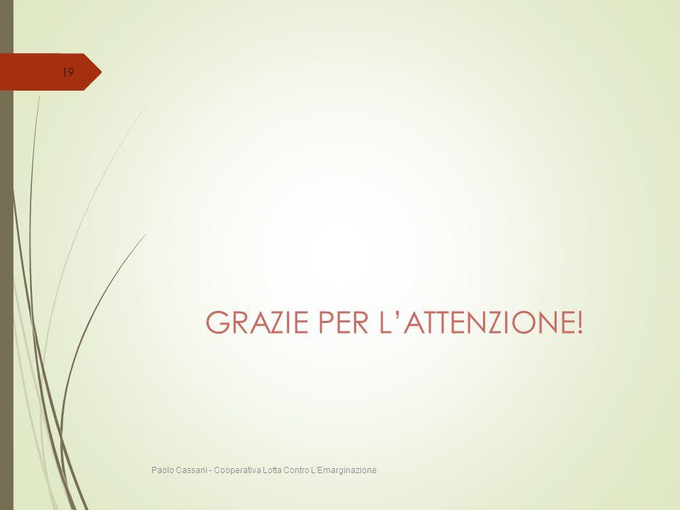GRAZIE PER L'ATTENZIONE! Paolo Cassani - Cooperativa Lotta Contro L'Emarginazione 19