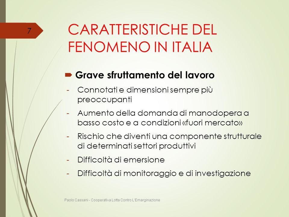 CARATTERISTICHE DEL FENOMENO IN ITALIA  Grave sfruttamento del lavoro -Connotati e dimensioni sempre più preoccupanti -Aumento della domanda di manod