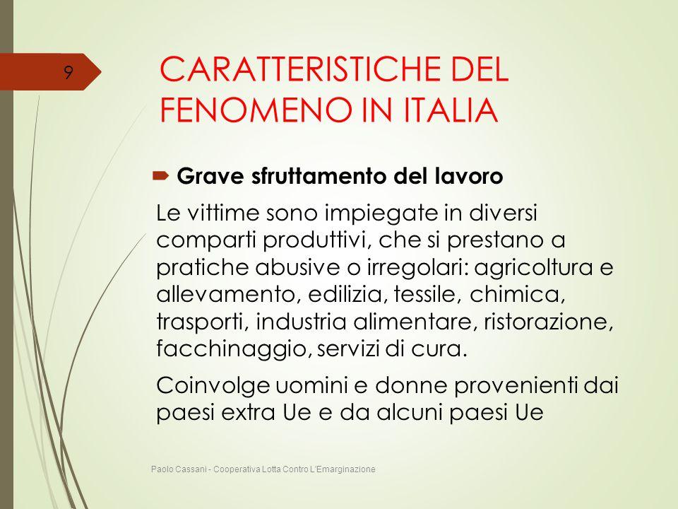 CARATTERISTICHE DEL FENOMENO IN ITALIA  Grave sfruttamento del lavoro Le vittime sono impiegate in diversi comparti produttivi, che si prestano a pra