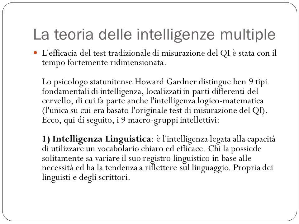 La teoria delle intelligenze multiple L'efficacia del test tradizionale di misurazione del QI è stata con il tempo fortemente ridimensionata. Lo psico