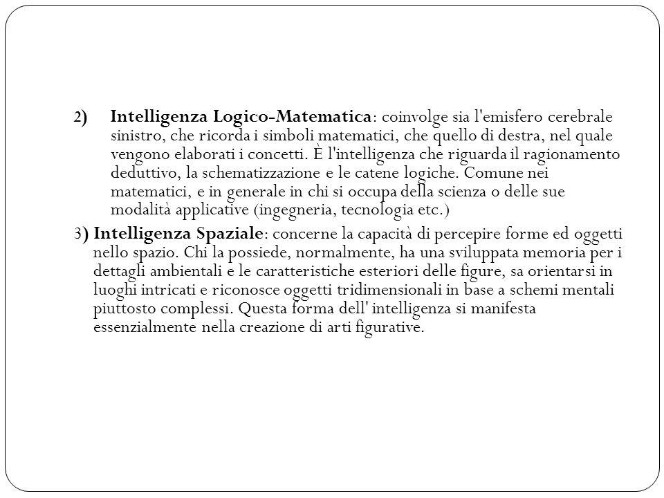 2 ) Intelligenza Logico-Matematica: coinvolge sia l'emisfero cerebrale sinistro, che ricorda i simboli matematici, che quello di destra, nel quale ven