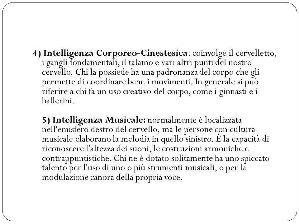 4) Intelligenza Corporeo-Cinestesica: coinvolge il cervelletto, i gangli fondamentali, il talamo e vari altri punti del nostro cervello. Chi la possie