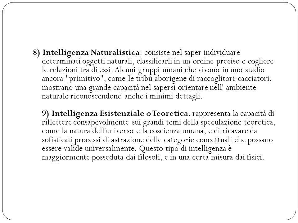 8) Intelligenza Naturalistica: consiste nel saper individuare determinati oggetti naturali, classificarli in un ordine preciso e cogliere le relazioni