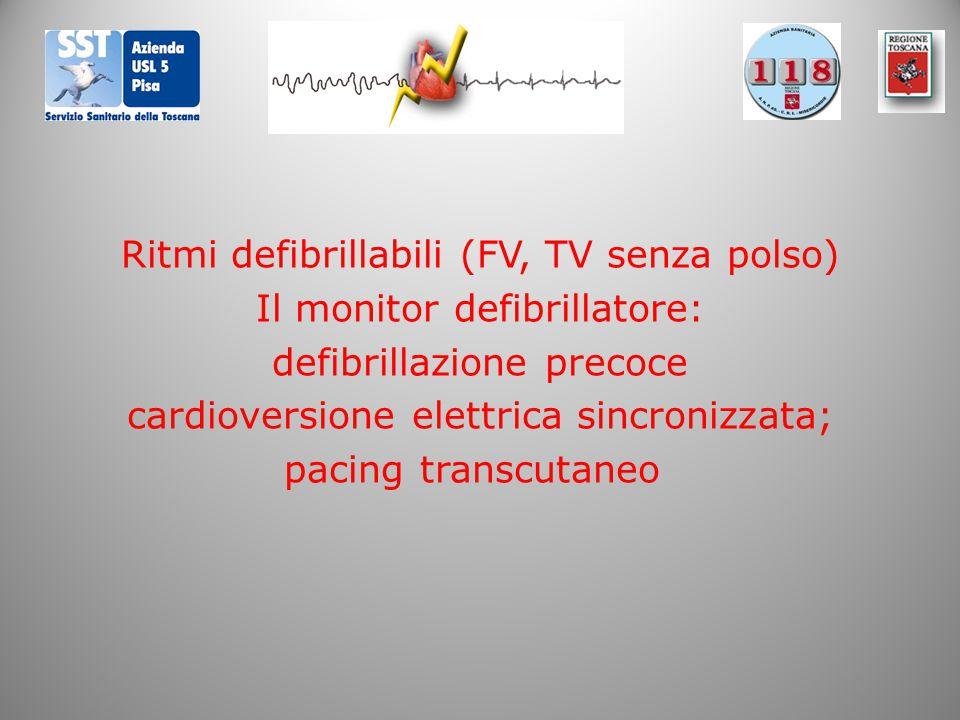 Ritmi defibrillabili (FV, TV senza polso) Il monitor defibrillatore: defibrillazione precoce cardioversione elettrica sincronizzata; pacing transcutaneo