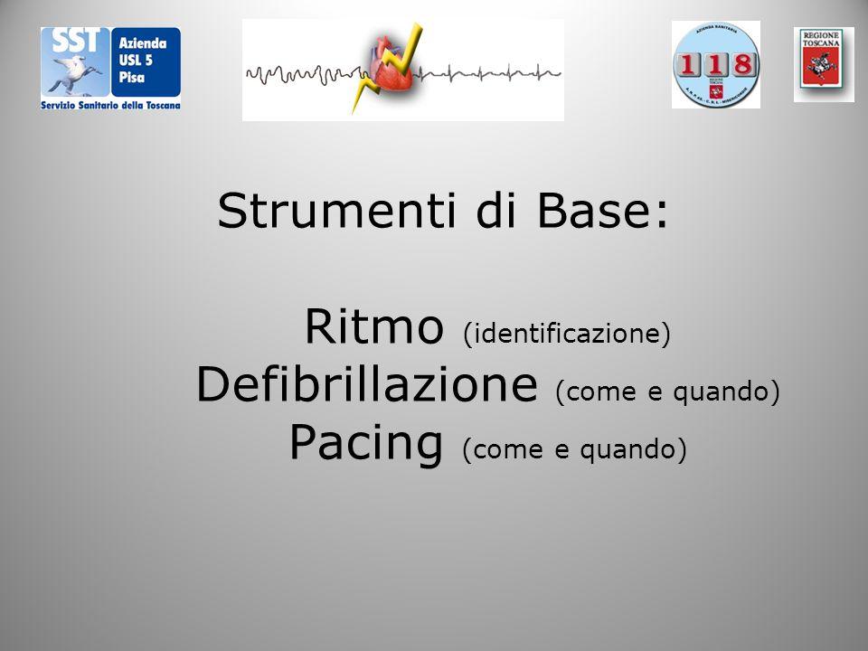 Strumenti di Base: Ritmo (identificazione) Defibrillazione (come e quando) Pacing (come e quando)