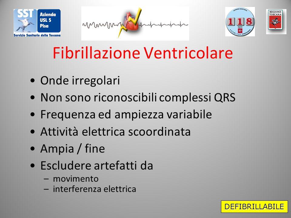 Fibrillazione Ventricolare Onde irregolari Non sono riconoscibili complessi QRS Frequenza ed ampiezza variabile Attività elettrica scoordinata Ampia /
