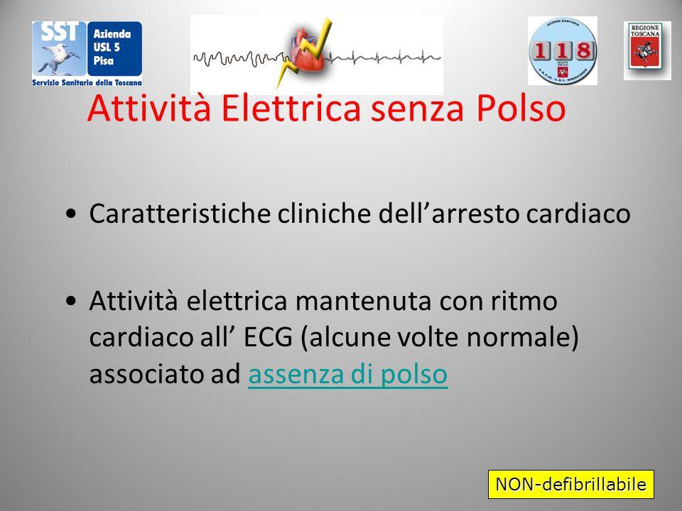 Attività Elettrica senza Polso Caratteristiche cliniche dell'arresto cardiaco Attività elettrica mantenuta con ritmo cardiaco all' ECG (alcune volte normale) associato ad assenza di polso NON-defibrillabile