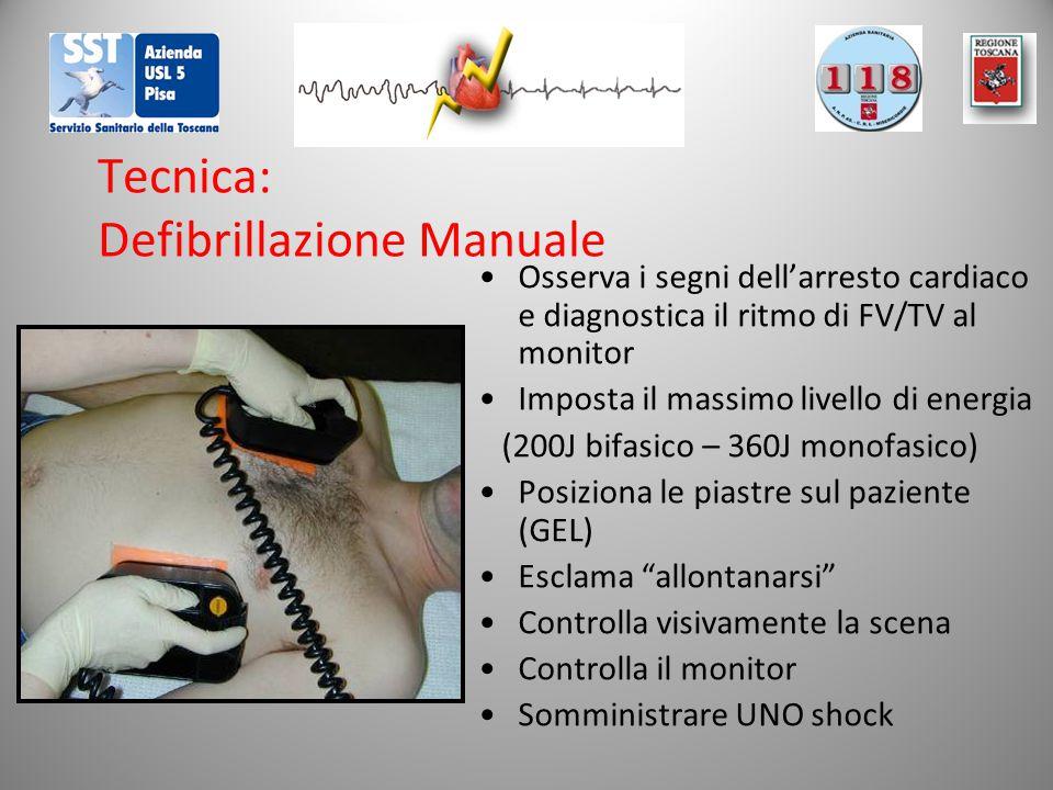 Tecnica: Defibrillazione Manuale Osserva i segni dell'arresto cardiaco e diagnostica il ritmo di FV/TV al monitor Imposta il massimo livello di energi