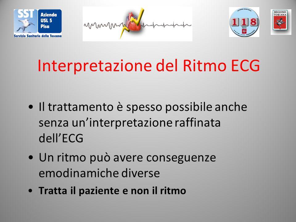 Interpretazione del Ritmo ECG Il trattamento è spesso possibile anche senza un'interpretazione raffinata dell'ECG Un ritmo può avere conseguenze emodinamiche diverse Tratta il paziente e non il ritmo