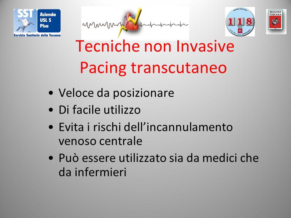 Tecniche non Invasive Pacing transcutaneo Veloce da posizionare Di facile utilizzo Evita i rischi dell'incannulamento venoso centrale Può essere utili