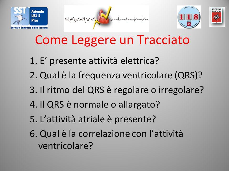 Come Leggere un Tracciato 1. E' presente attività elettrica? 2. Qual è la frequenza ventricolare (QRS)? 3. Il ritmo del QRS è regolare o irregolare? 4