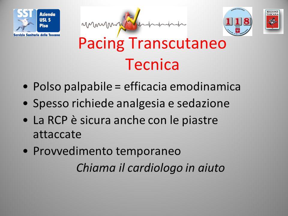 Pacing Transcutaneo Tecnica Polso palpabile = efficacia emodinamica Spesso richiede analgesia e sedazione La RCP è sicura anche con le piastre attaccate Provvedimento temporaneo Chiama il cardiologo in aiuto