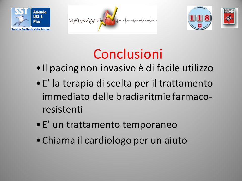 Conclusioni Il pacing non invasivo è di facile utilizzo E' la terapia di scelta per il trattamento immediato delle bradiaritmie farmaco- resistenti E' un trattamento temporaneo Chiama il cardiologo per un aiuto
