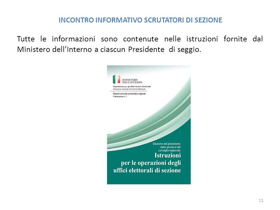 INCONTRO INFORMATIVO SCRUTATORI DI SEZIONE Tutte le informazioni sono contenute nelle istruzioni fornite dal Ministero dell'Interno a ciascun Presiden