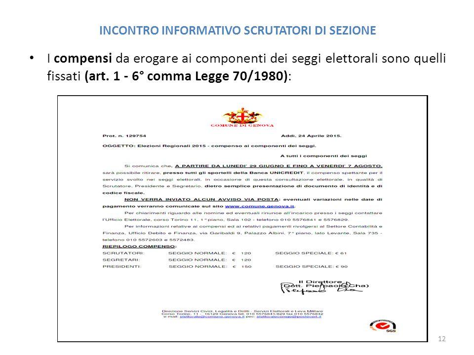 INCONTRO INFORMATIVO SCRUTATORI DI SEZIONE I compensi da erogare ai componenti dei seggi elettorali sono quelli fissati (art.