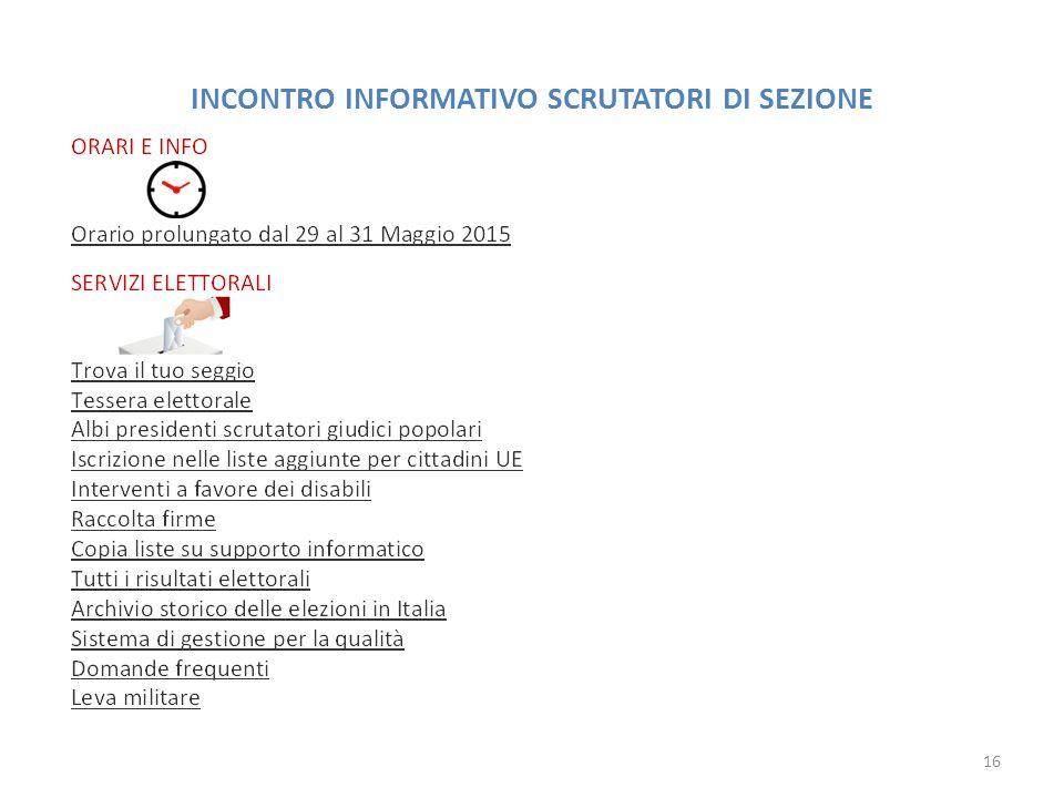 INCONTRO INFORMATIVO SCRUTATORI DI SEZIONE 16