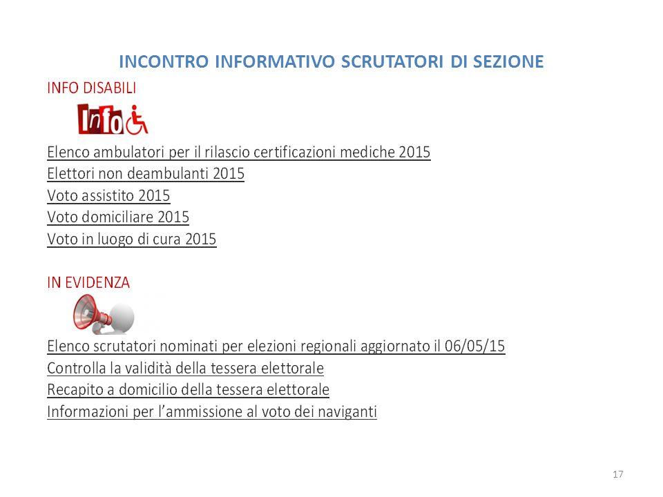 INCONTRO INFORMATIVO SCRUTATORI DI SEZIONE 17