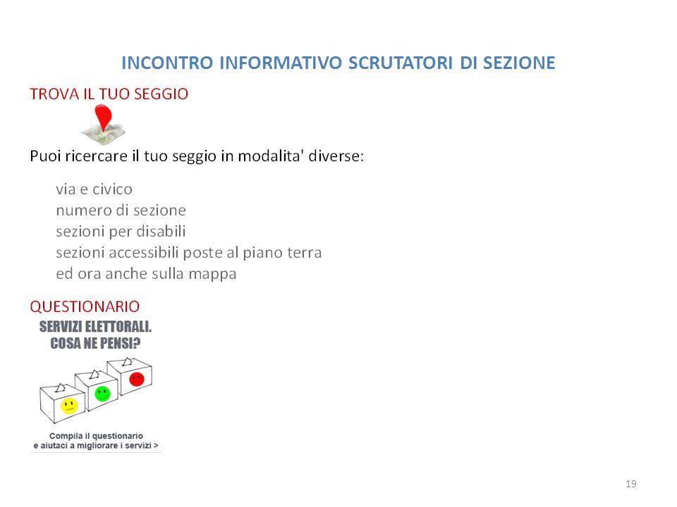 INCONTRO INFORMATIVO SCRUTATORI DI SEZIONE 19