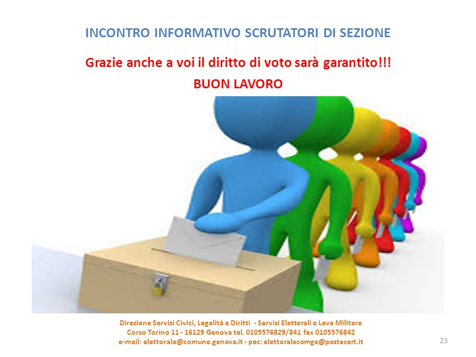 INCONTRO INFORMATIVO SCRUTATORI DI SEZIONE Grazie anche a voi il diritto di voto sarà garantito!!! BUON LAVORO 23 Direzione Servizi Civici, Legalità e