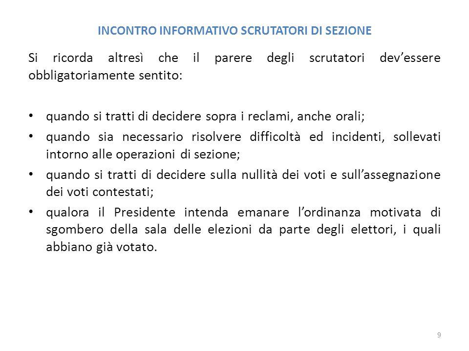 INCONTRO INFORMATIVO SCRUTATORI DI SEZIONE 20