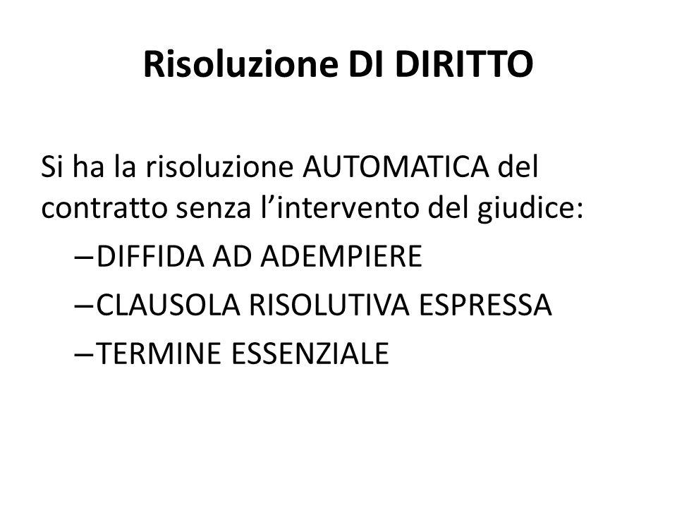 Risoluzione DI DIRITTO Si ha la risoluzione AUTOMATICA del contratto senza l'intervento del giudice: – DIFFIDA AD ADEMPIERE – CLAUSOLA RISOLUTIVA ESPR