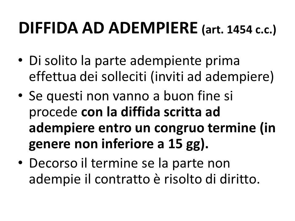 DIFFIDA AD ADEMPIERE (art. 1454 c.c.) Di solito la parte adempiente prima effettua dei solleciti (inviti ad adempiere) Se questi non vanno a buon fine