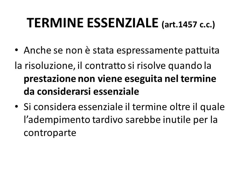 TERMINE ESSENZIALE (art.1457 c.c.) Anche se non è stata espressamente pattuita la risoluzione, il contratto si risolve quando la prestazione non viene