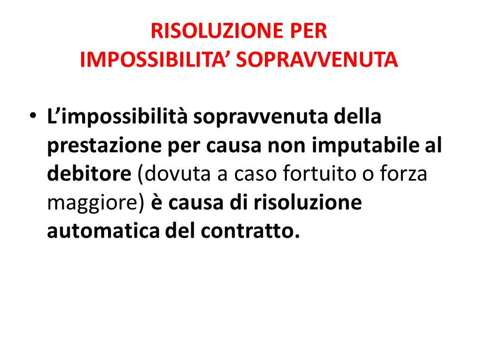 RISOLUZIONE PER IMPOSSIBILITA' SOPRAVVENUTA L'impossibilità sopravvenuta della prestazione per causa non imputabile al debitore (dovuta a caso fortuit
