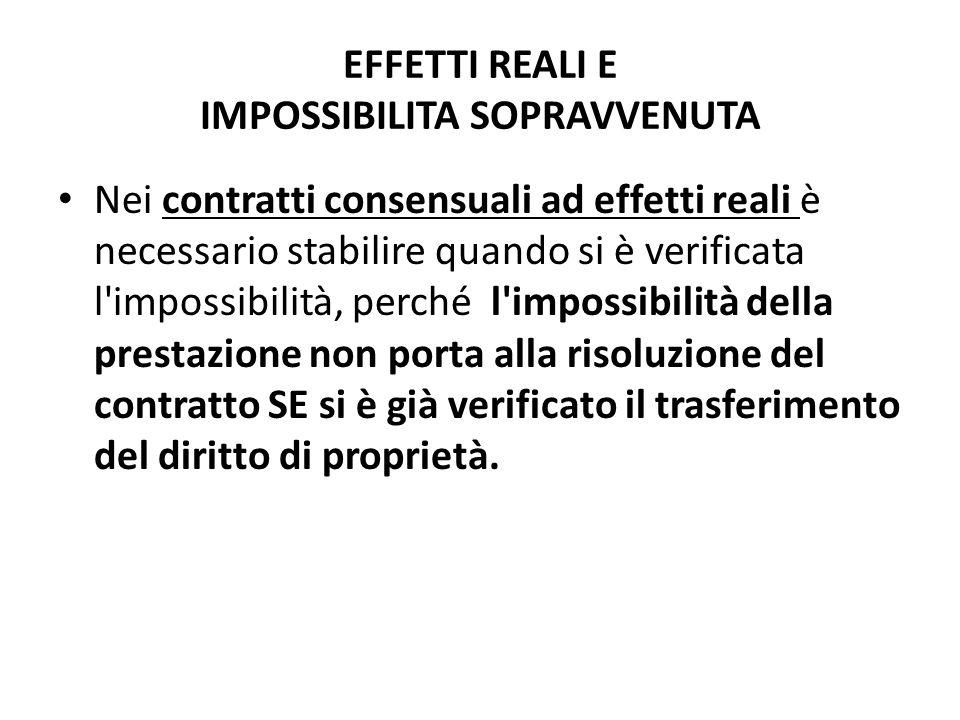 EFFETTI REALI E IMPOSSIBILITA SOPRAVVENUTA Nei contratti consensuali ad effetti reali è necessario stabilire quando si è verificata l'impossibilità, p