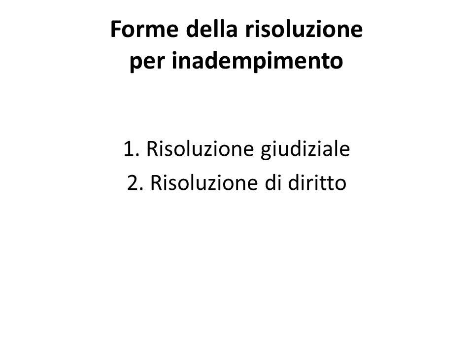 Forme della risoluzione per inadempimento 1. Risoluzione giudiziale 2. Risoluzione di diritto