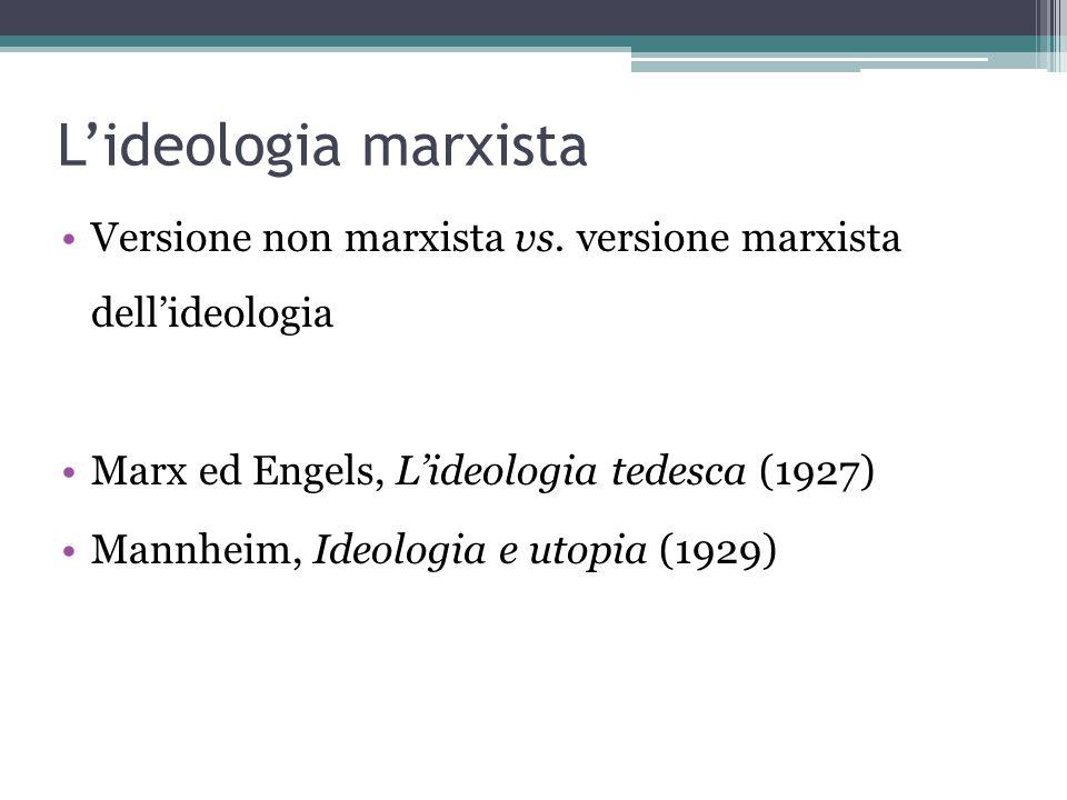 L'ideologia marxista Versione non marxista vs. versione marxista dell'ideologia Marx ed Engels, L'ideologia tedesca (1927) Mannheim, Ideologia e utopi
