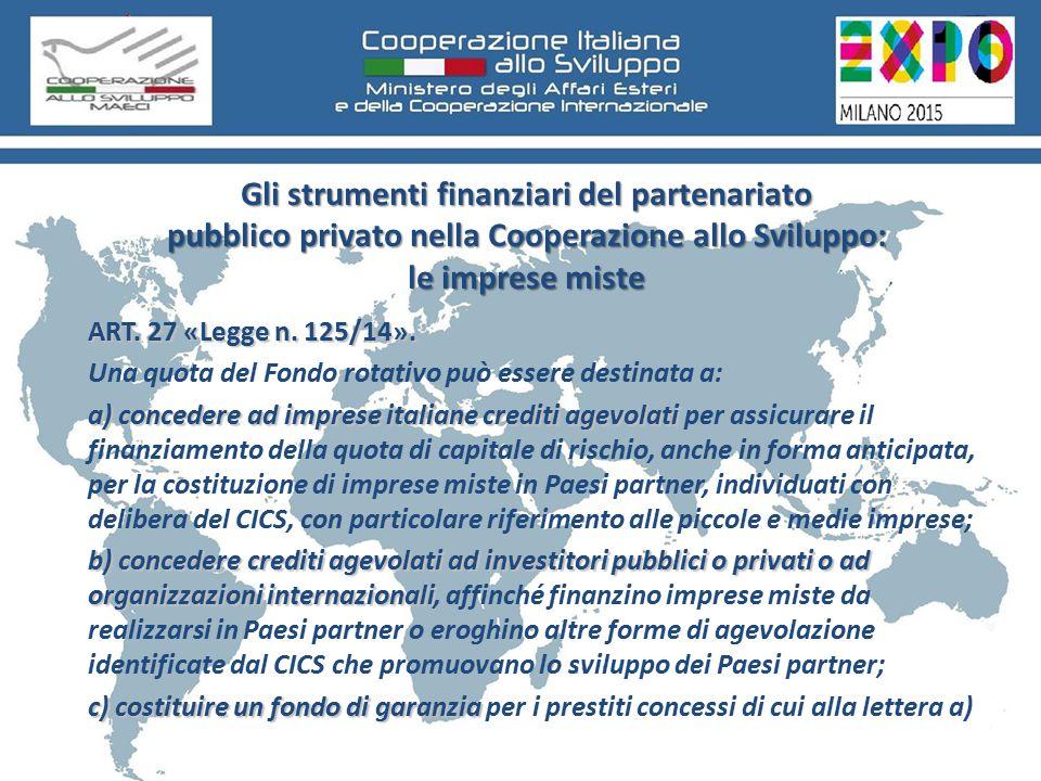 Gli strumenti finanziari del partenariato pubblico privato nella Cooperazione allo Sviluppo: le imprese miste ART.
