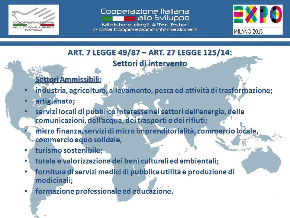 ART. 7 LEGGE 49/87 – ART.