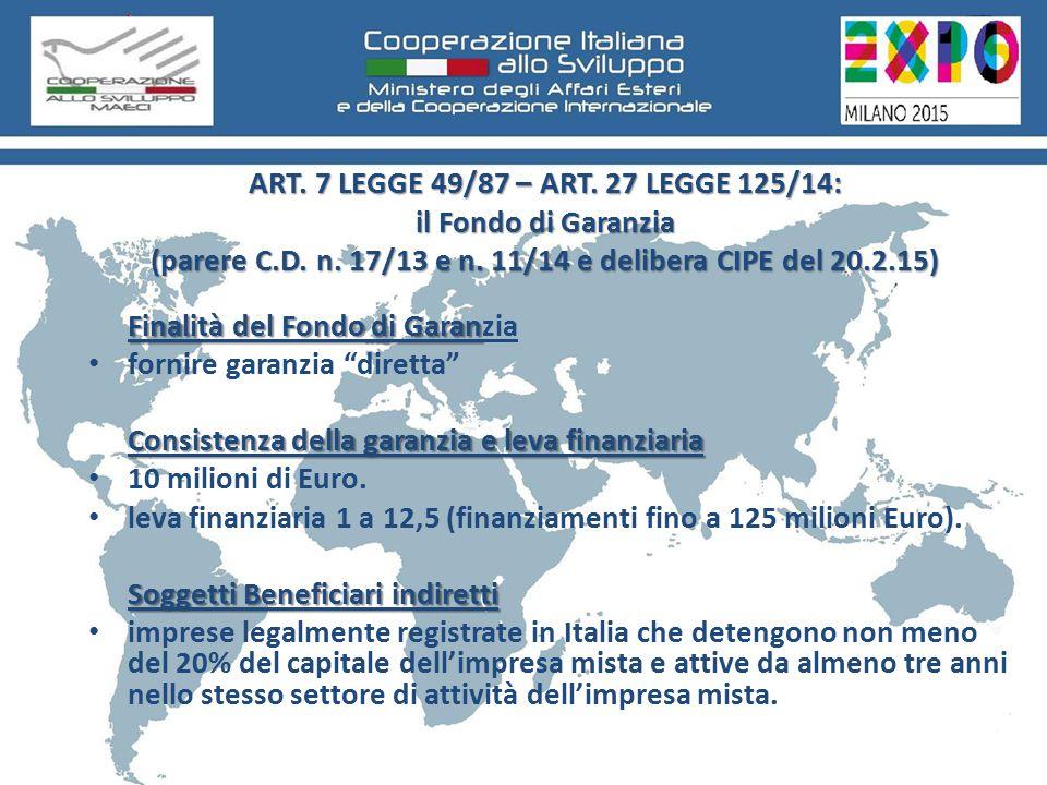 ART. 7 LEGGE 49/87 – ART. 27 LEGGE 125/14: il Fondo di Garanzia (parere C.D.