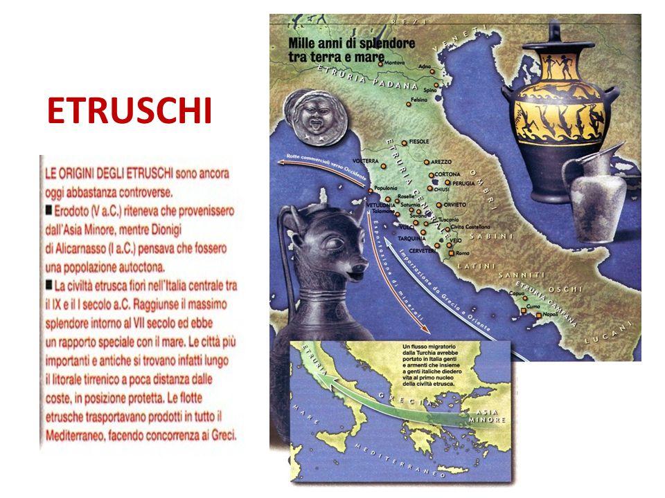 GLI ETRUSCHI Nella loro lingua gli Etruschi si chiamavano Rasenna o Rasna, mentre i greci li definivano Tirrenoi o Tyrsenoi, cioè Tirreni.