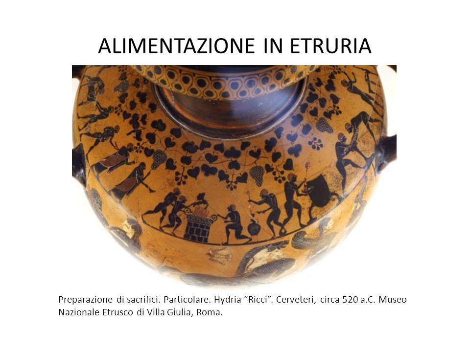 """ALIMENTAZIONE IN ETRURIA Preparazione di sacrifici. Particolare. Hydria """"Ricci"""". Cerveteri, circa 520 a.C. Museo Nazionale Etrusco di Villa Giulia, Ro"""