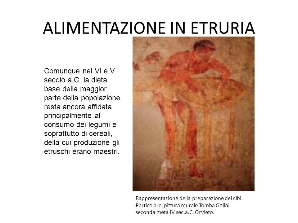 ALIMENTAZIONE IN ETRURIA Rappresentazione della preparazione dei cibi. Particolare, pittura murale.Tomba Golini, seconda metà IV sec.a.C. Orvieto. Com