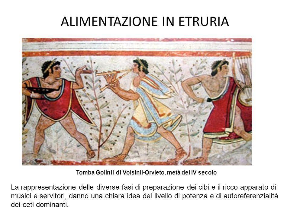 ALIMENTAZIONE IN ETRURIA Tomba Golini I di Volsinii-Orvieto, metà del IV secolo La rappresentazione delle diverse fasi di preparazione dei cibi e il r