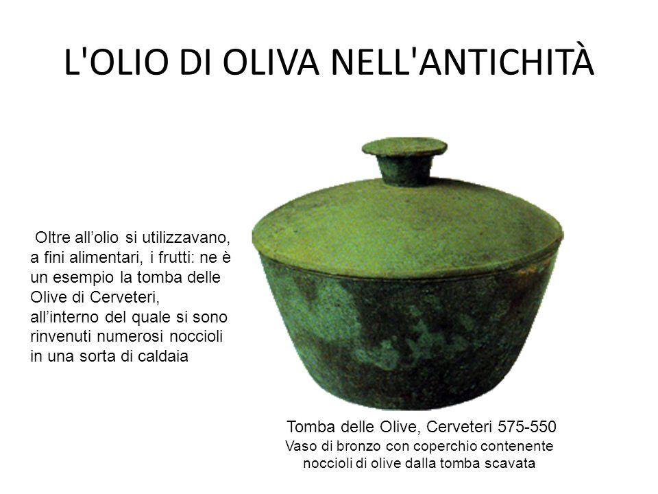 L'OLIO DI OLIVA NELL'ANTICHITÀ Tomba delle Olive, Cerveteri 575-550 Vaso di bronzo con coperchio contenente noccioli di olive dalla tomba scavata Oltr