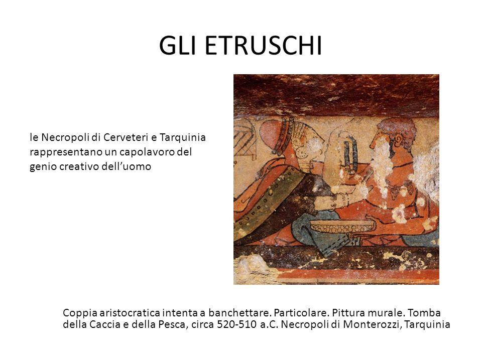GLI ETRUSCHI Coppia aristocratica intenta a banchettare. Particolare. Pittura murale. Tomba della Caccia e della Pesca, circa 520-510 a.C. Necropoli d