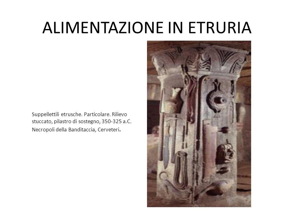 ALIMENTAZIONE IN ETRURIA Suppellettili etrusche. Particolare. Rilievo stuccato, pilastro di sostegno, 350-325 a.C. Necropoli della Banditaccia, Cervet
