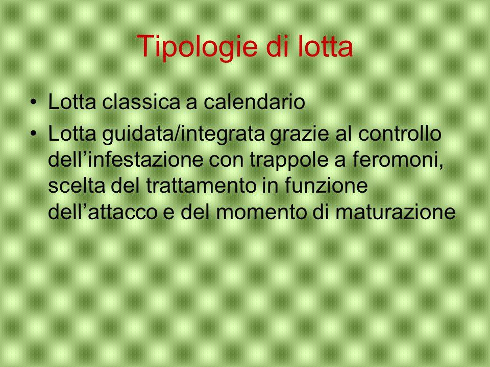 Tipologie di lotta Lotta classica a calendario Lotta guidata/integrata grazie al controllo dell'infestazione con trappole a feromoni, scelta del tratt